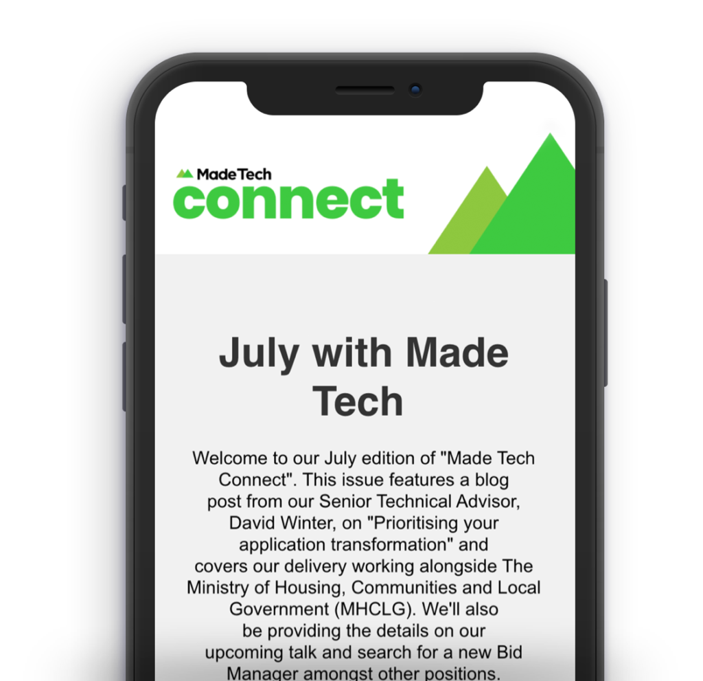 Made Tech connect newsletter on a phone