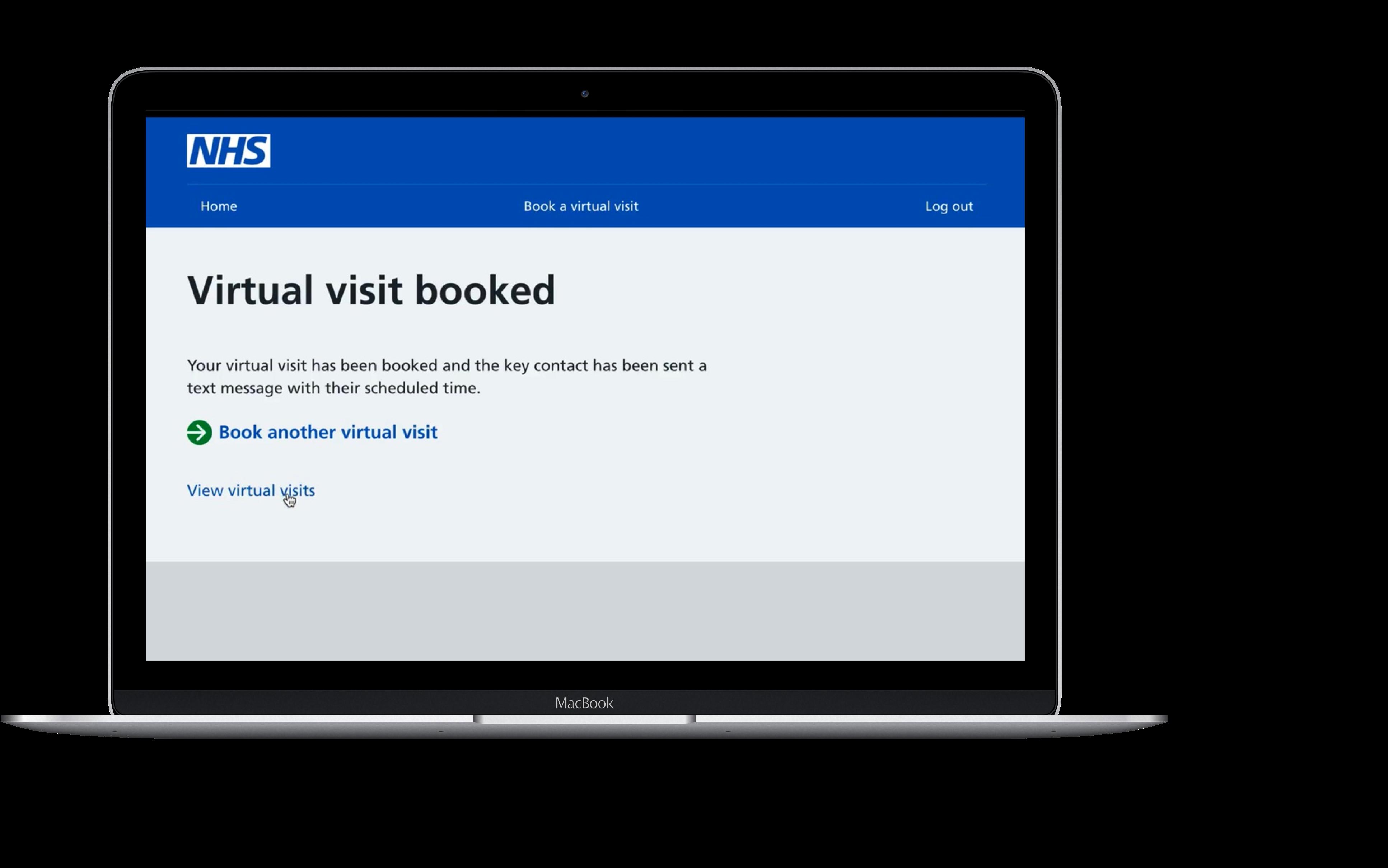 NHS Virtual visit booked laptop