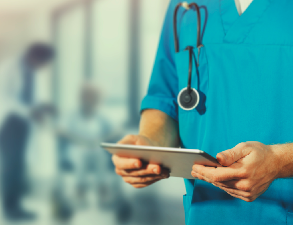 Connecting hospital patients with loved ones during COVID nurse using ipad