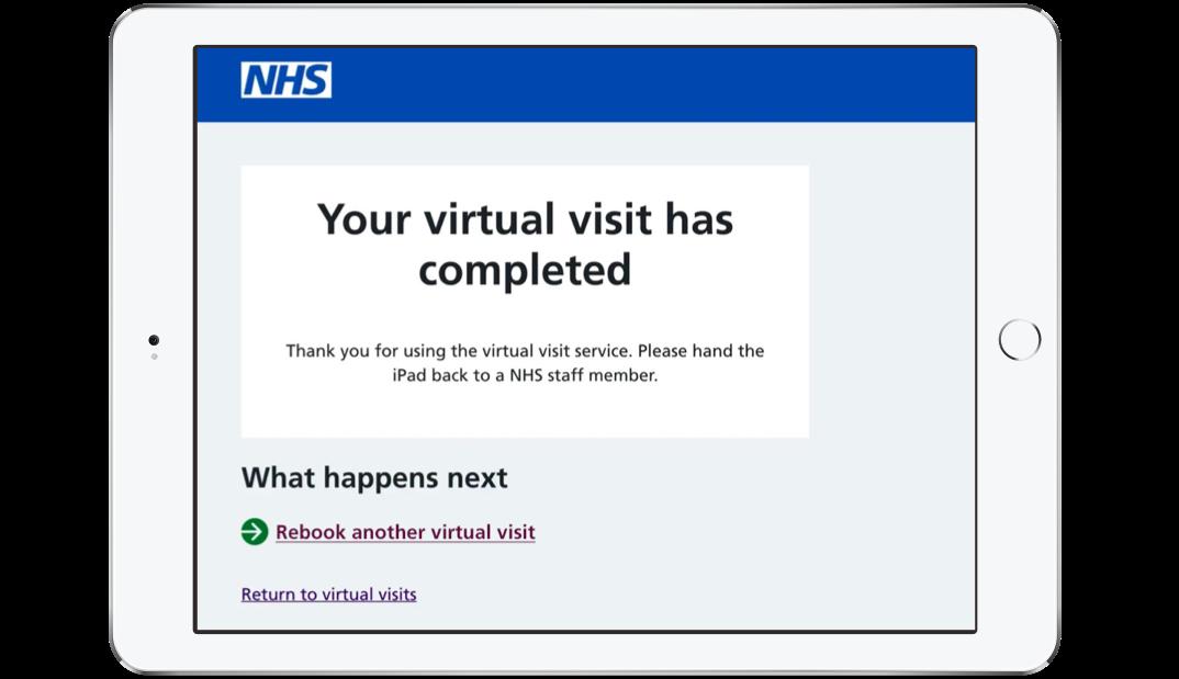 NHS virtual visit completed tablet