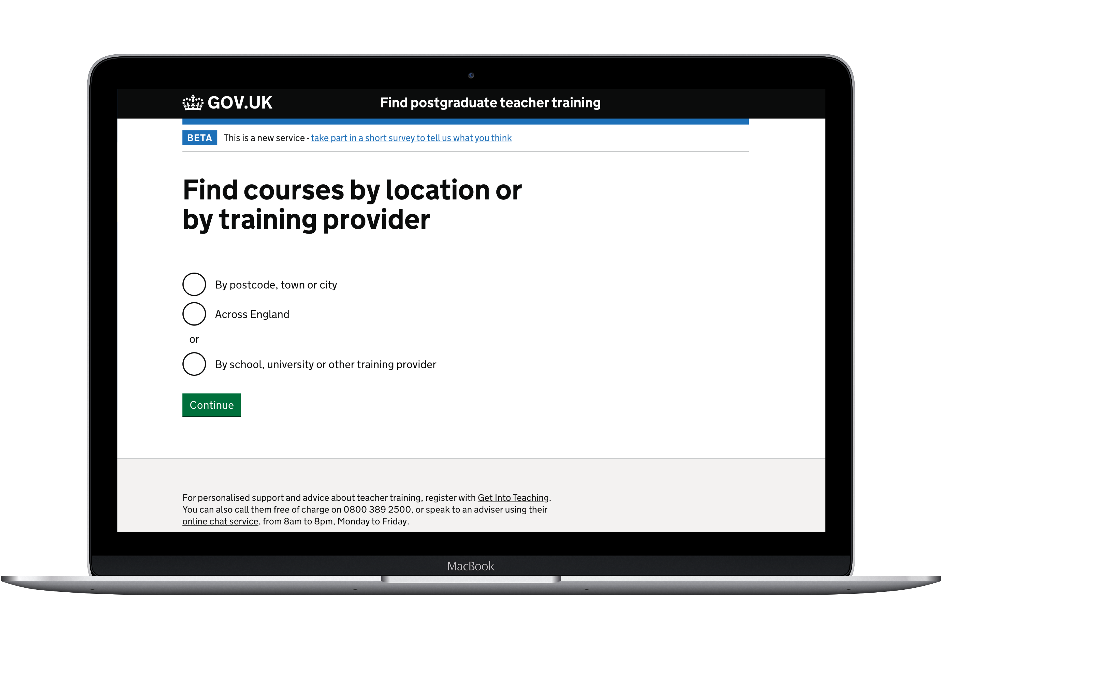 Find courses by location or training provider laptop