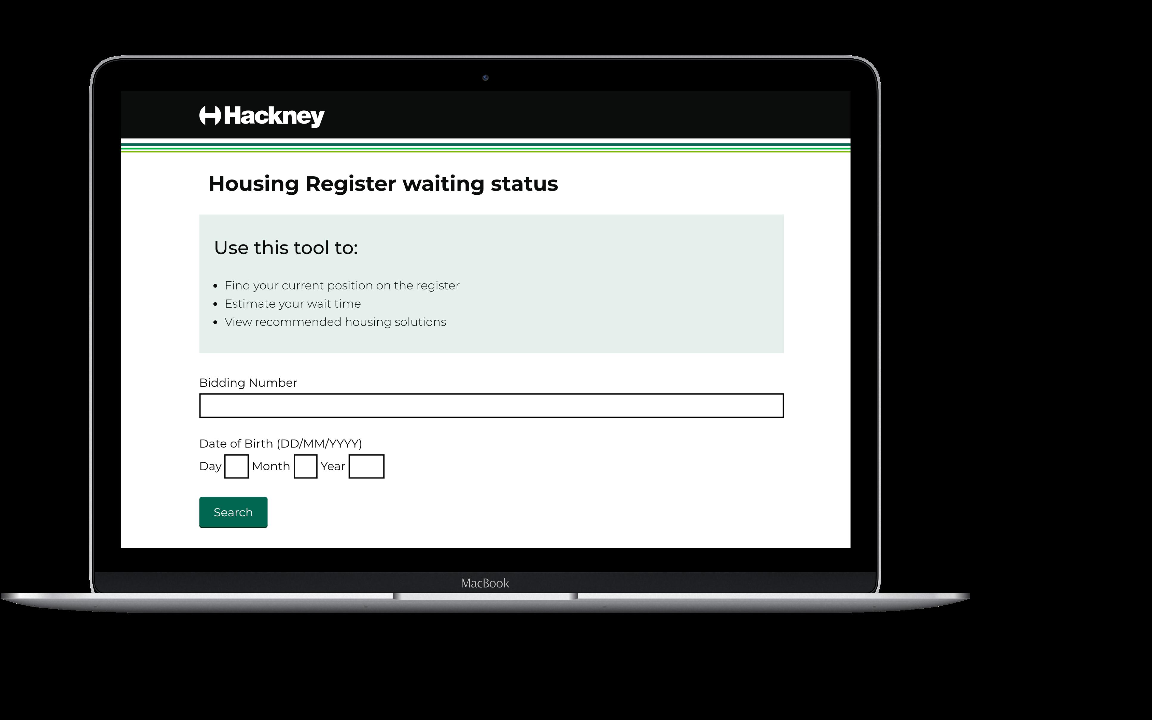Housing register waiting status laptop