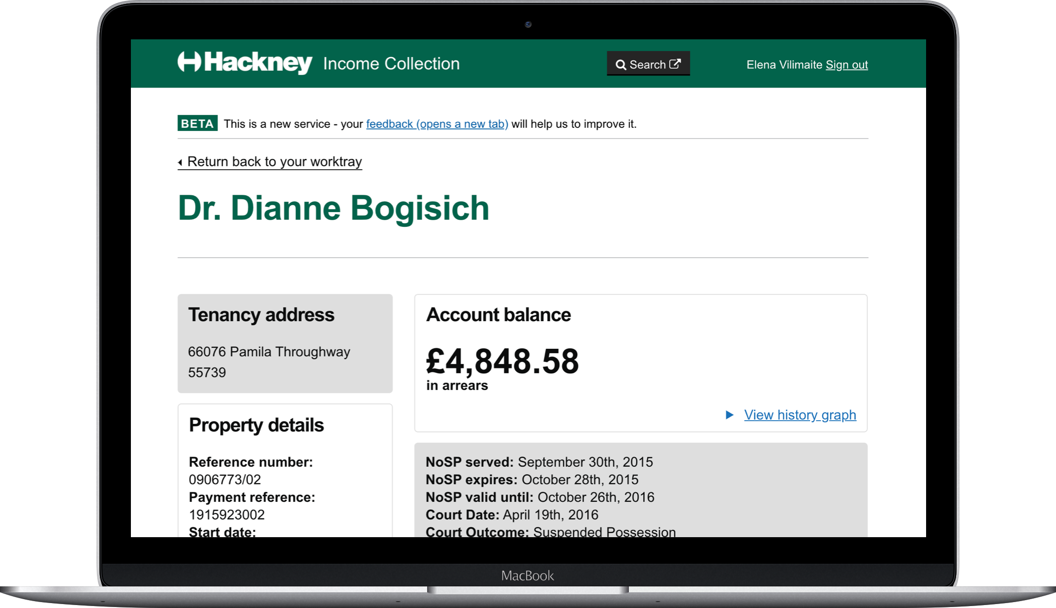 Hackney income collection laptop
