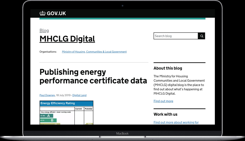 MHCLG digital laptop