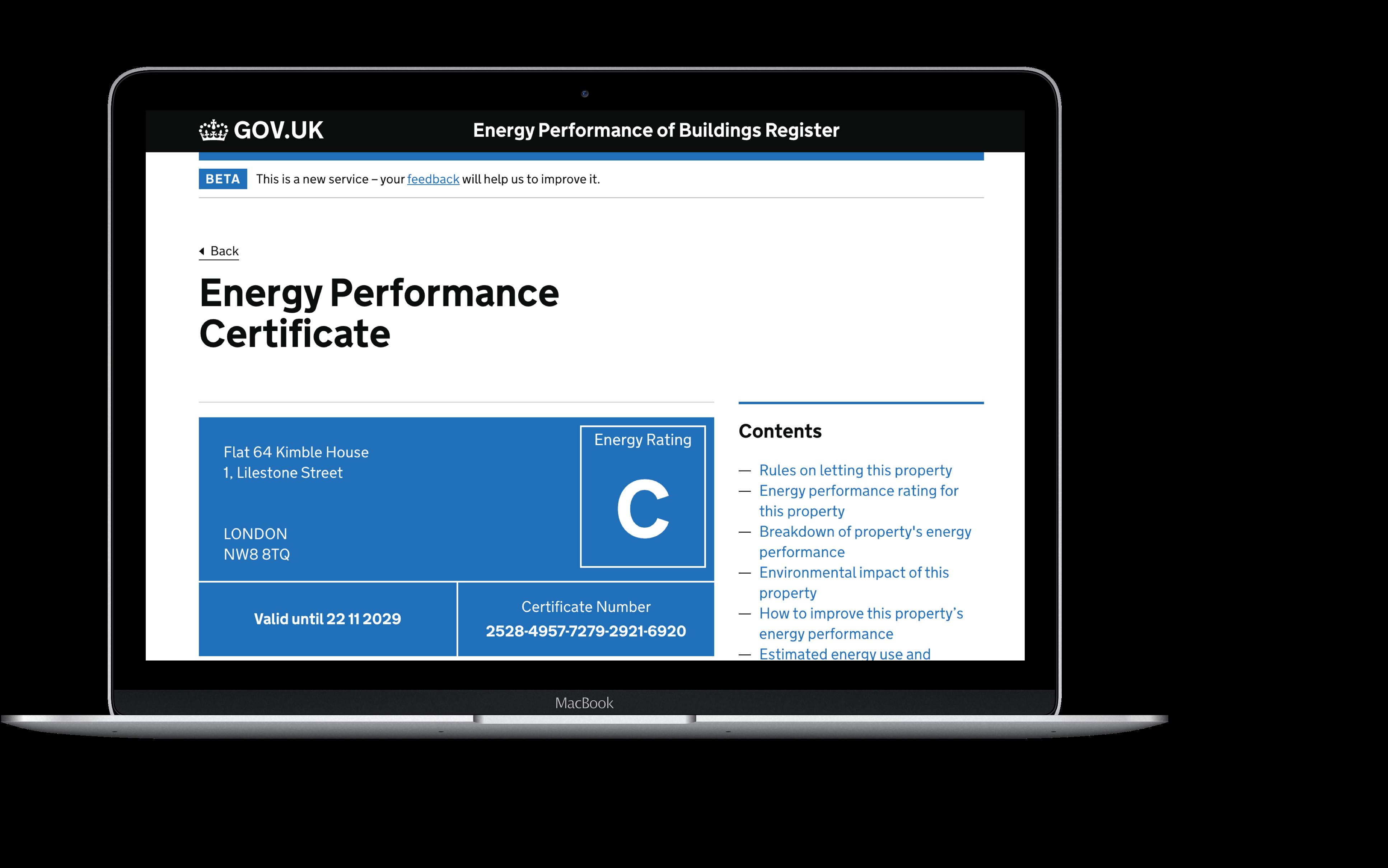 Energy performance certificate laptop