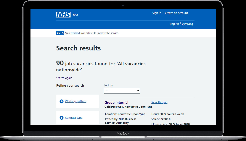 NHS jobs laptop