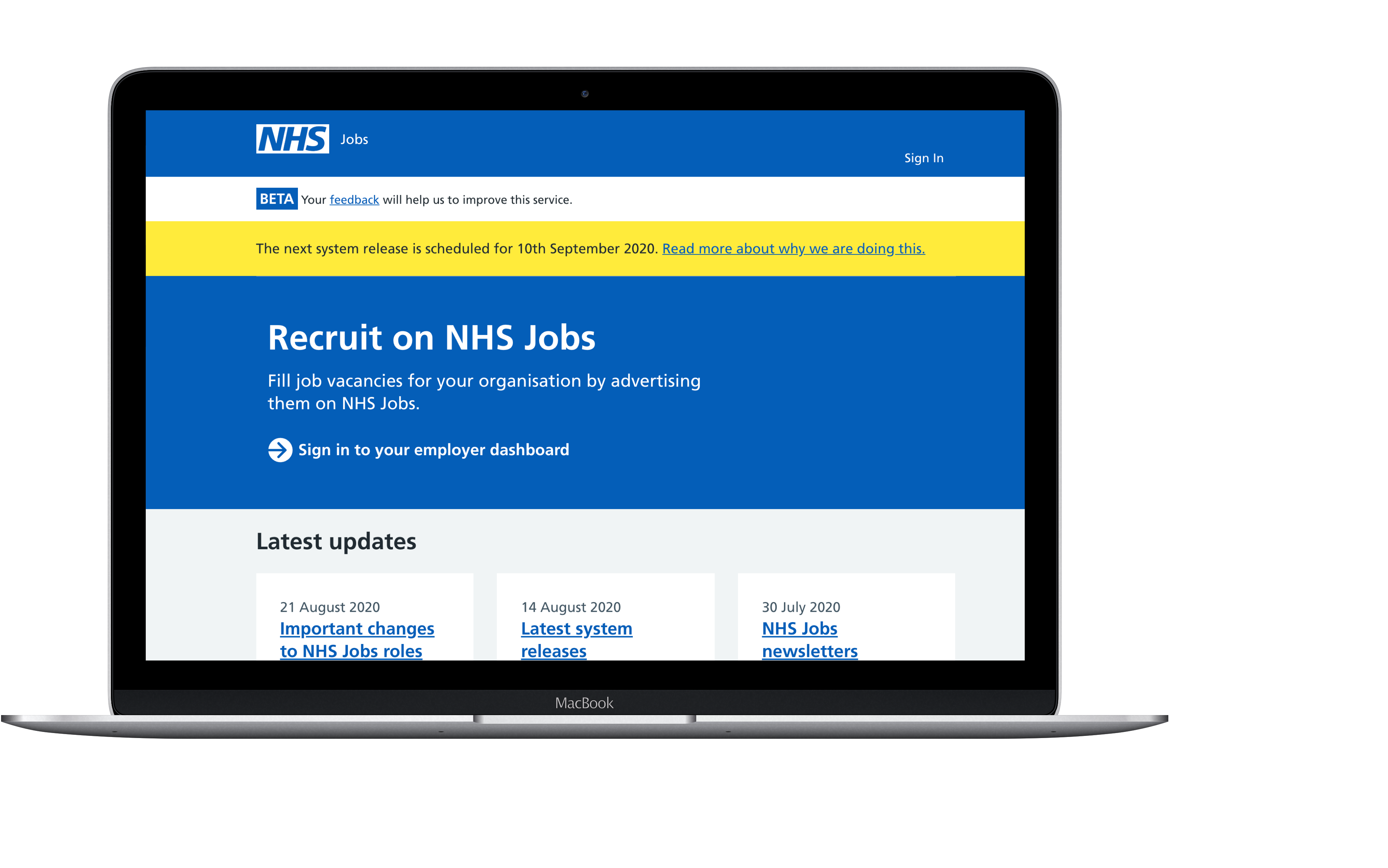 Recruit on NHS jobs laptop