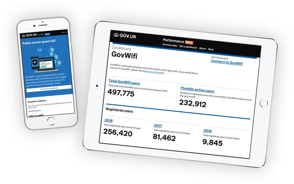 Govwifi on tablet and phone