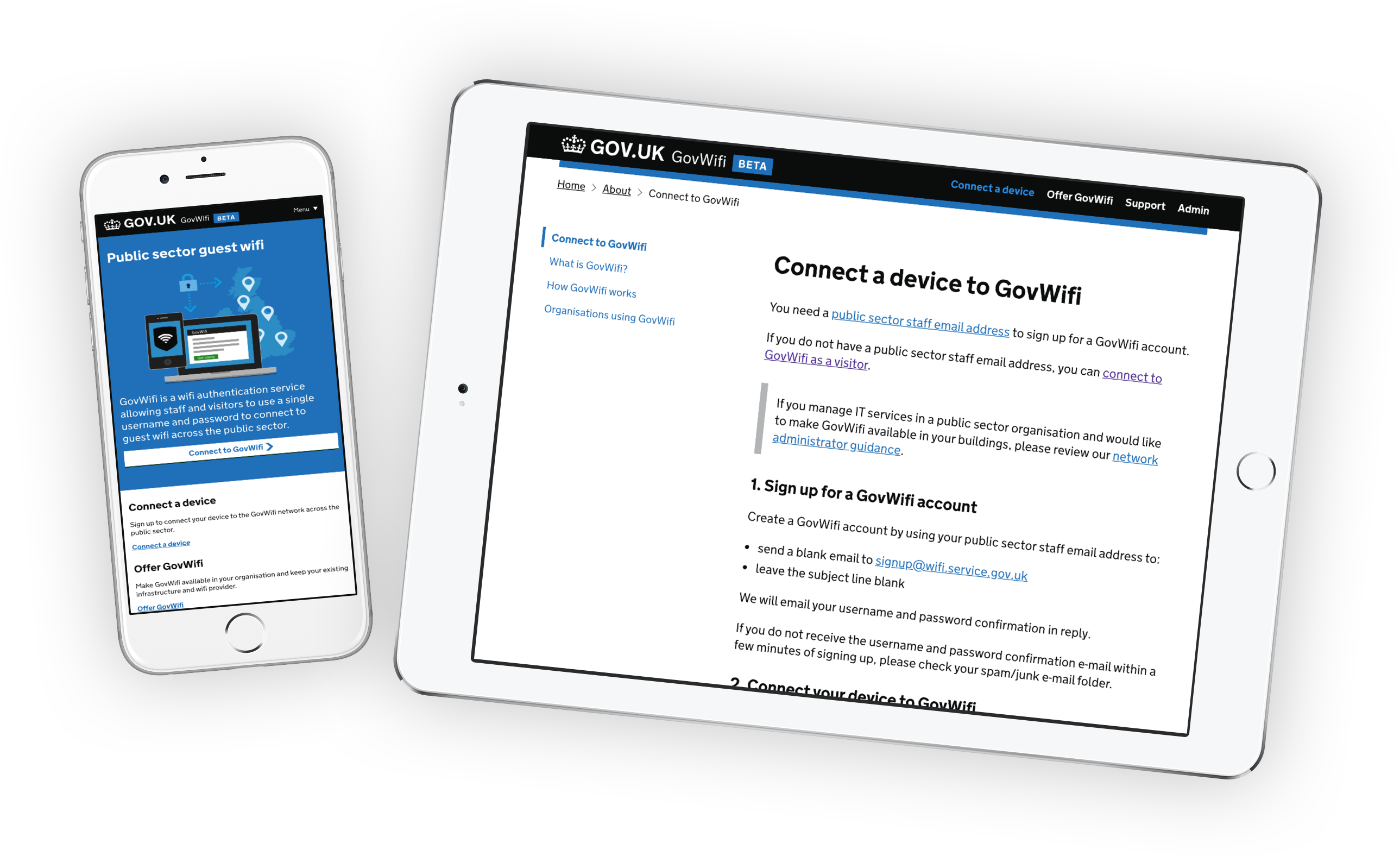 Govwifi tablet and phone