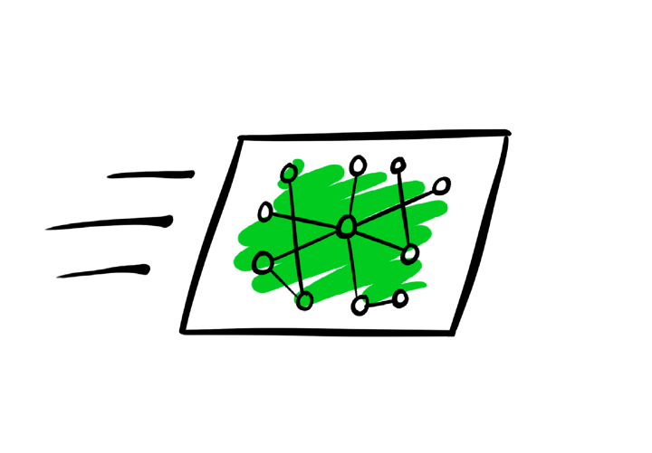Illustrated moving rectangle with green centre
