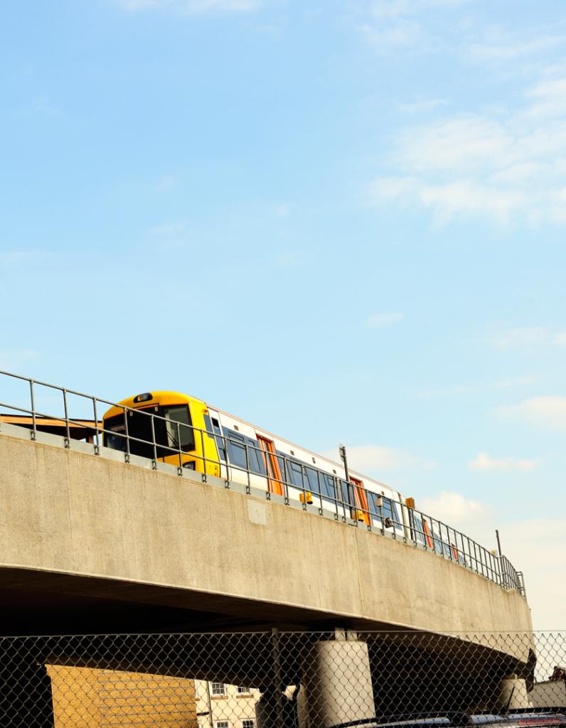 Yellow train moving