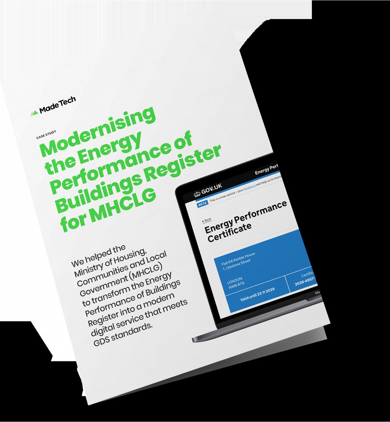 Modernising the Energy Performance of Buildings Register for MHCLG case study cover