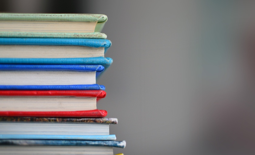 Stack of colourful books