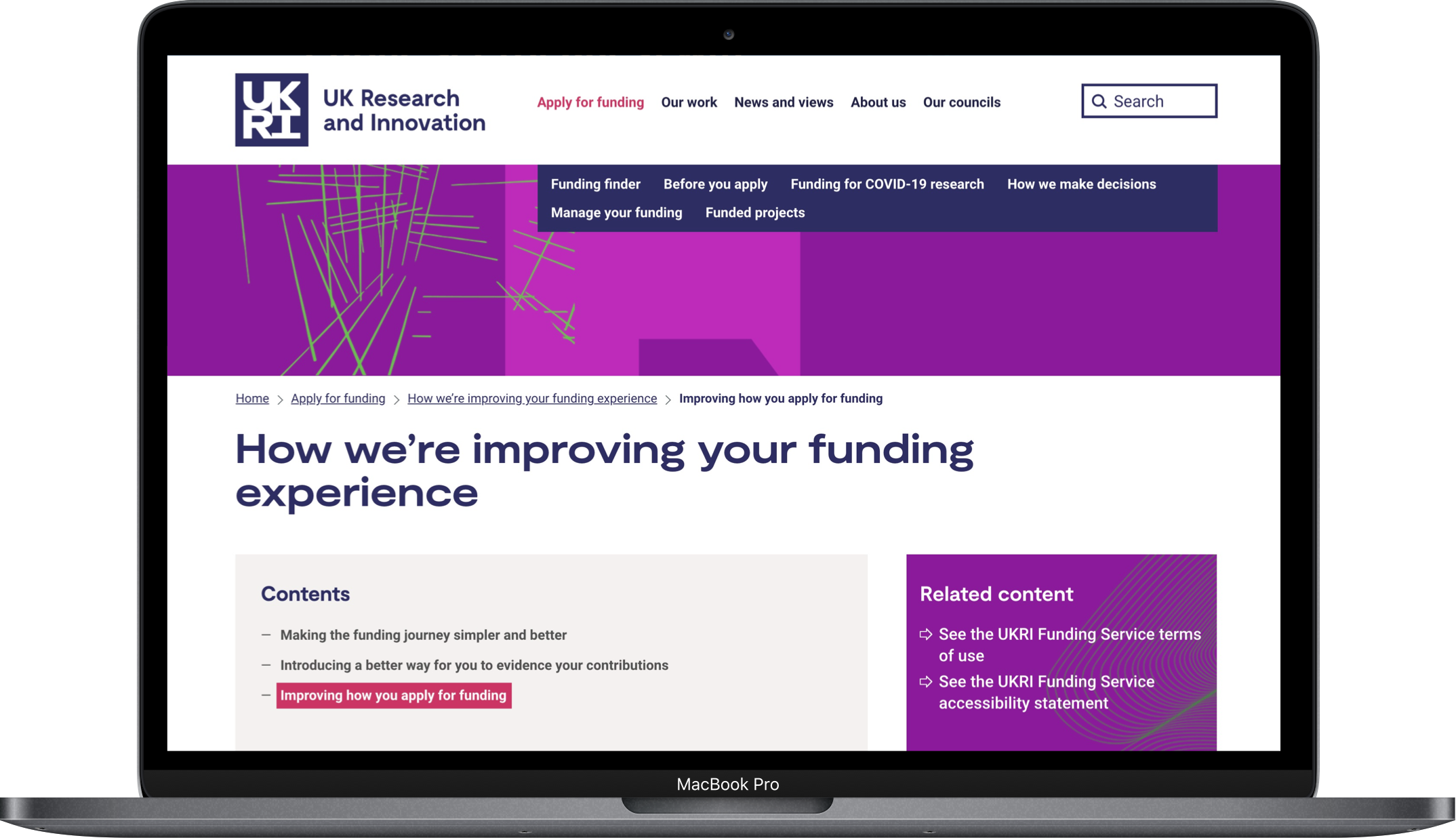 UKRI How we're improving your funding experience laptop