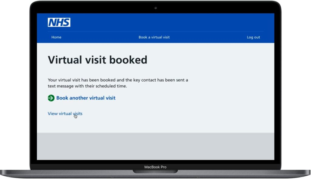 Screenshot of the virtual visits service